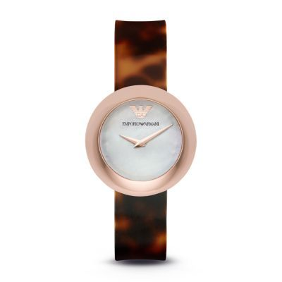 Fashion Watch Blending a white mother-of-pearl dial, a rose gold-tone case and a textured brown strap, this Emporio Armani ladies' watch showcases minimalist design with chic, contemporary edge.