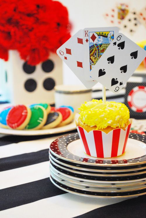 Simple and really effective cupcake toppers (and check out the poker-chip cookies in the background!)