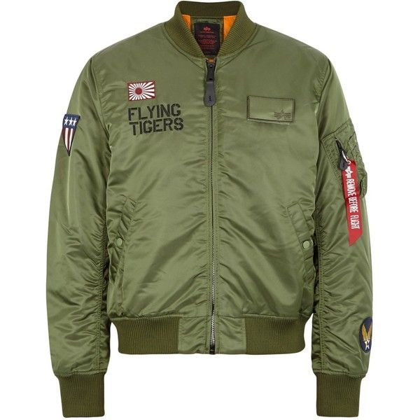 Alpha Industries MA-1 Flying Tigers Shell Bomber Jacket - Size L ($245) ❤ liked on Polyvore featuring men's fashion, men's clothing, men's outerwear, men's jackets, mens shell jacket, mens olive jacket, mens padded bomber jacket, mens olive green jacket and mens zip jacket