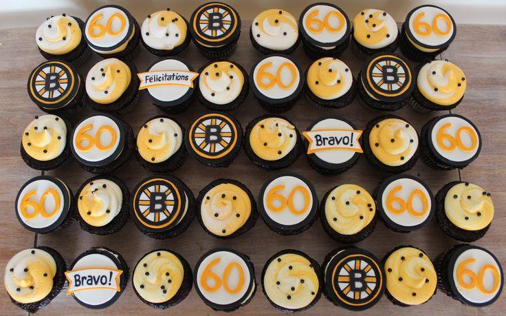 Boston Bruins cupcakes cake buttercream swirl logo