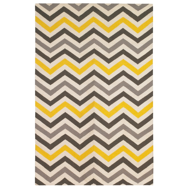 This yellow and gray chevron rug will be perfect for the new living room.