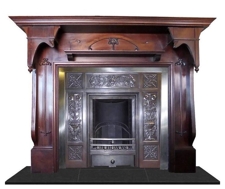 Antique Art Nouveau Large Mahogany Fireplace Mantel For Sale at 1stdibs