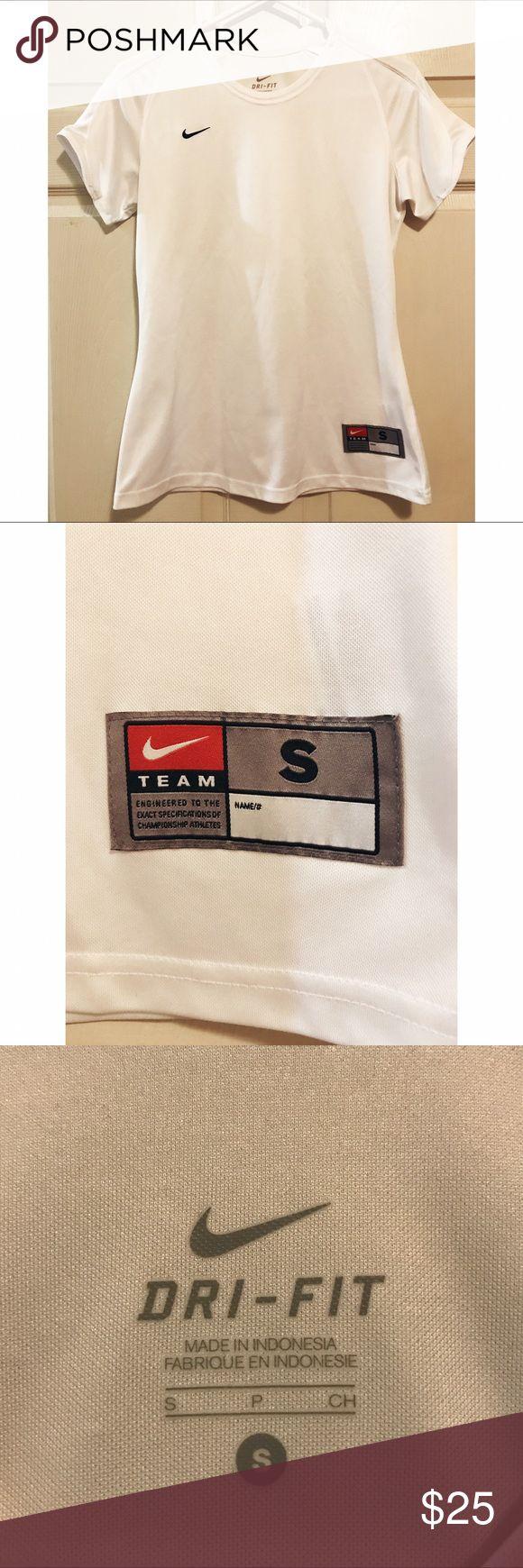 Nike • Dri Fit Short Sleeve Top Nike • White Short Sleeve Top. Dri Fit. Size small. Embroidered Nike swoosh on right side. Nike Tops Tees - Short Sleeve