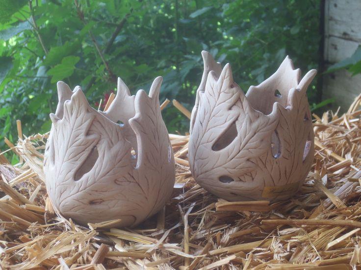 Gartendekoration - Paar Windlichter Blätterkeramik Gartendekoration - ein Designerstück von Toepfer-Bude bei DaWanda