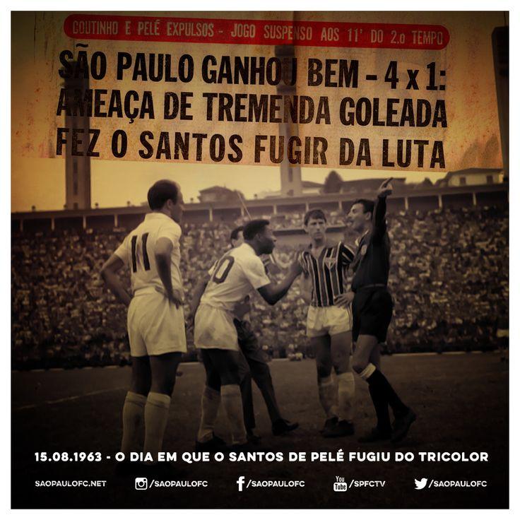 No dia 15.08.63, o Tricolor atropelou o Santos de Pelé por 4 a 1, com gols de Faustino, Benê, Sabino e Pagão #SPFC (via São Paulo FC - Twitter) E foi o lendário time do Pelé... Este é meu tricolor...