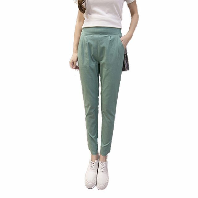 Korea Style Loose Harem Pants Cotton Linen Trousers Women 2017 Summer Hight Waist Elastic Casual Solid Ankle-Length Pants Mujer