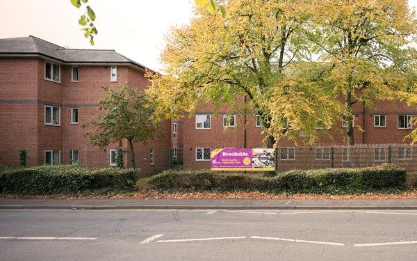 The view of Brookside student accommodation from the road that leads directly to the University of Derby