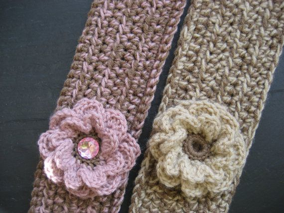Crochet Flower Ear Warmer Tutorial : Crochet Pattern - Headband Ear Warmer with Flower (three ...
