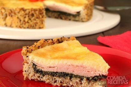 Receita de Torta de arroz integral, espinafre e peito de peru em receitas de tortas salgadas, veja essa e outras receitas aqui!