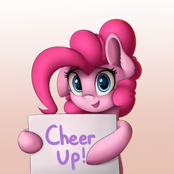 Size: 2000x2000 | Tagged: artist:vanillaghosties, cute, diapinkes, gradient background, looking at you, pinkie pie, positive ponies, safe, sign, solo