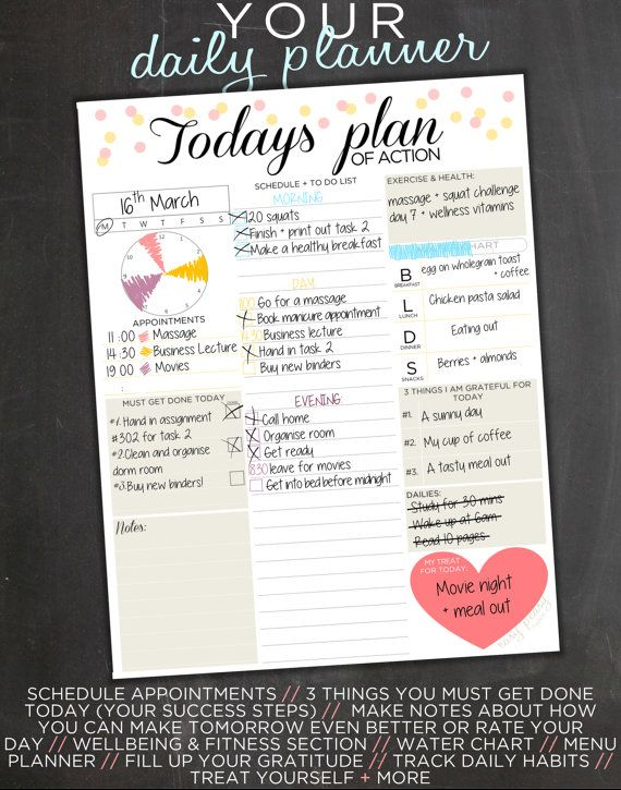 I like the treat box and the circular appointments visual (although I'd want more hours in it!) Daily Planner Printable Day Organizer A4 Daily by EasyPeasyPaper
