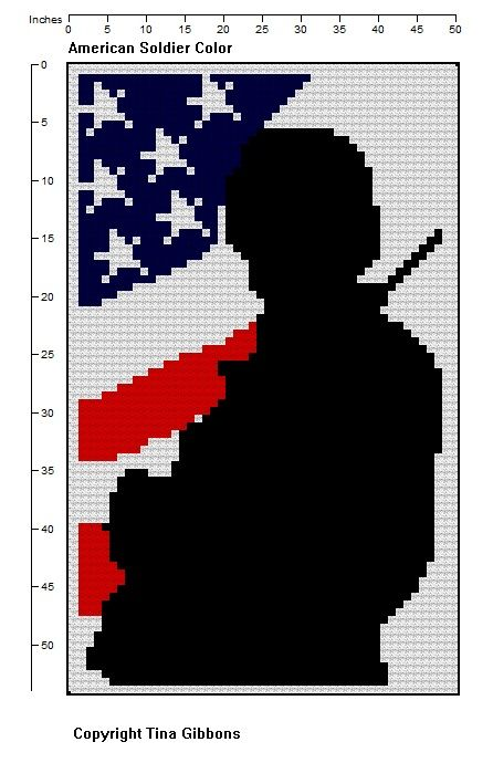 Free Crochet Afghan Pattern American Soldier Copyright Tina Gibbons... well I don't crochet that well... but think this will be a wonderful needlepoint wallhanging
