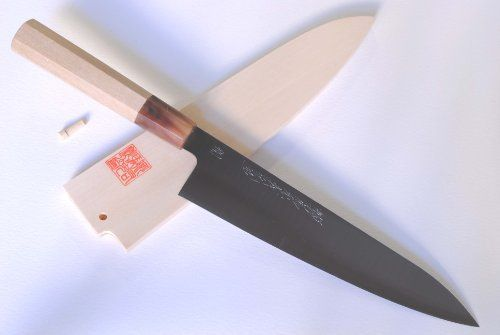 "YOSHIHIRO- Hagane Wa Gyutou Chef Knife 8.25"" 210mm - MADE IN JAPAN by YOSHIHIRO. $209.99. Blade: Double-Edged / Blade Length: 8.25"" (210mm). Knife Type: Gyutou Knife. BOLSTER: Water Buffalo Horn (BOLSTER COLOR -VARIES) / Handle Material: Magnolia. Hardness Rockwell C scale: 61-62. Steel Type: HAGANE, Virgin High Carbon Steel (not stain-resistant). About YOSHIHIRO- ""YOSHIHIRO"" has been designated as a one of the Best Sword Craftsman in Japan since 1550. Over 500 years of..."