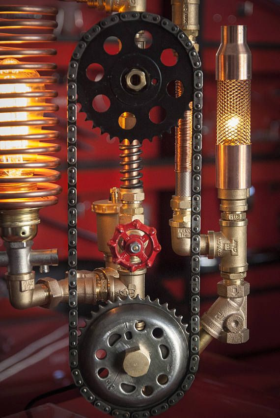 Steampunk Lamp Industrial Pipe Machine Age Art Lots of Brass