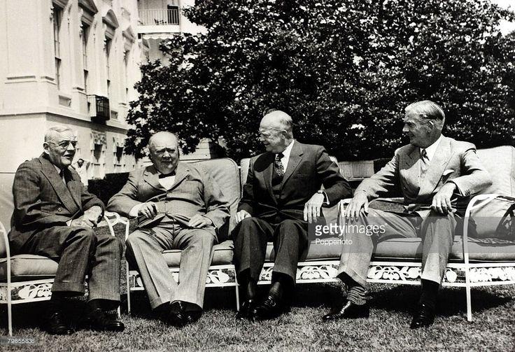 1954, Washington D,C, President Dwight D, Eisenhower 2nd right, with l-r, US,Secretary of State John Foster Dulles, left, British Prime Minister Winston Churchill, 2nd left, and British Foreign Secretary Anthony Eden, right