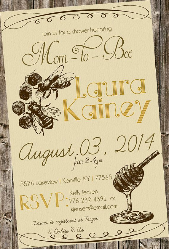 Baby Shower Invitation: Vintage Bee  mommy-to-bee honey bee