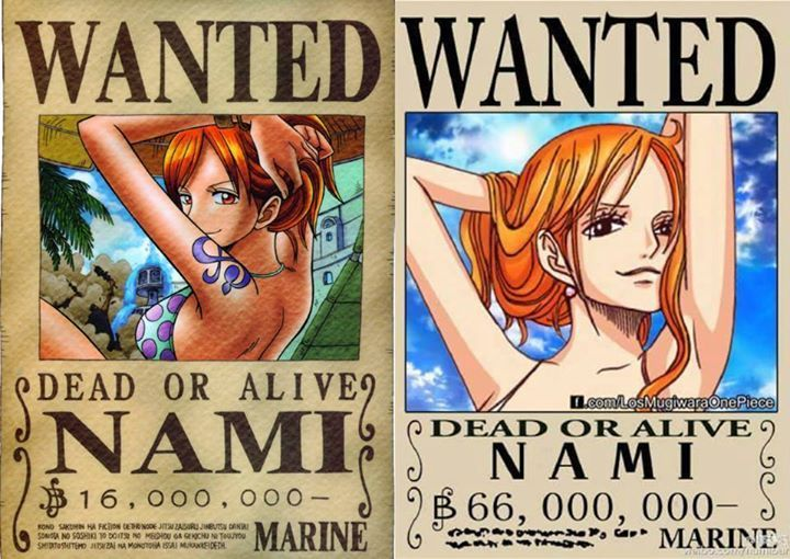 Nami's bounty then and now