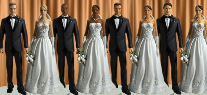 Interracial marriage wedding cake toppers