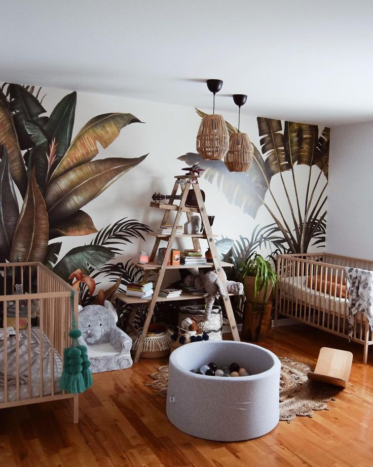 Tropical Wallpaper In The Kid S Room Beautifully Captured By