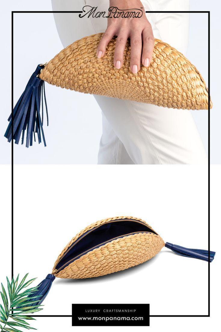 New Handwoven Rattan Sea Grass Straw Clutch Bag Purse Handbag With Tassel Drop