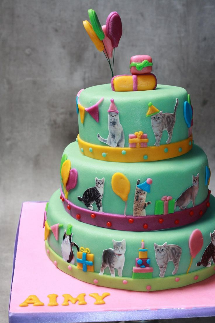 Verjaardagstaart poezen! Deze katten vieren een feestje ;)