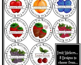Fruit Stickers, Canning Labels, Fruit, Apple, Peach, Blueberry, Strawberry,Raspberry, Blackberries, Cherry,  Labels, Custom, Set of 12