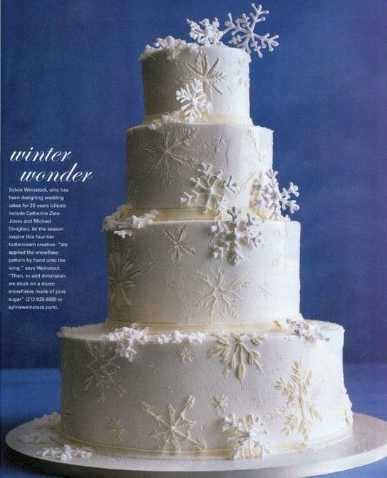 Winter wedding cake  I thought snowflakes were boring, but these are beautifully unique