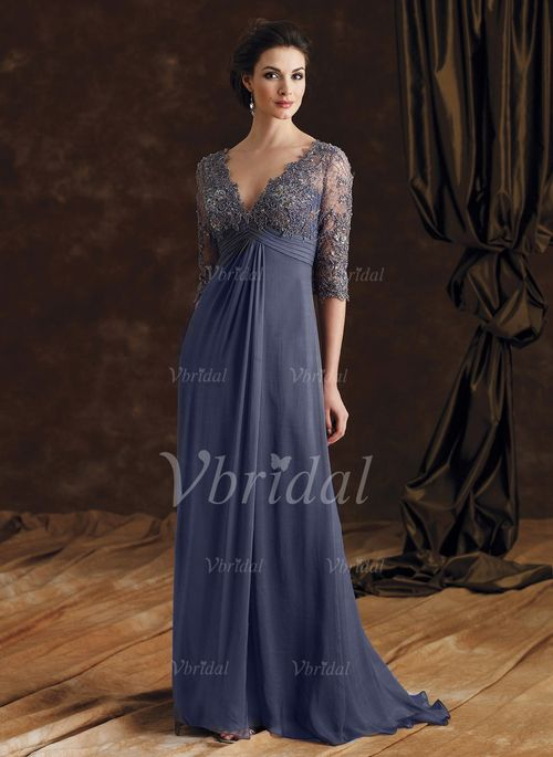 Mother of the Bride Dresses - $177.39 - Empire V-neck Sweep Train Chiffon Mother of the Bride Dress With Beading Appliques Lace (0085092698)