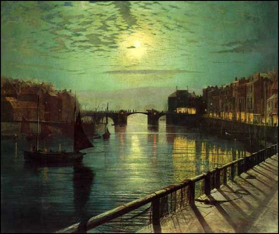 Whitby Harbour by Moonlight (1867)  by John Atkinson Grimshaw