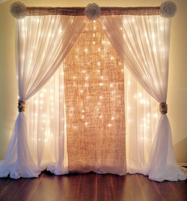25 best ideas about curtain backdrop wedding on pinterest for Back ground decoration