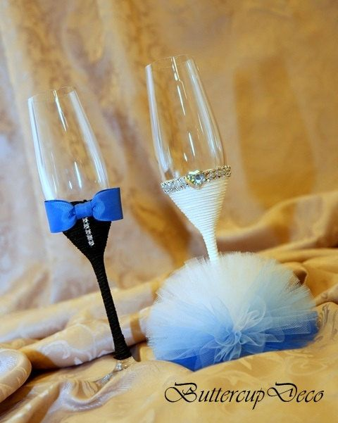 Wedding Glasses Set of 2 hand decorated Champagne от ButtercupDeco