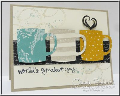 Cups and Kettle, Greatest Greetings, coffee mugs, masculine card, Stampin' Up!, #stampinup, take the Mediterranean Achievers Blog Hop for Feb 2016, created by Connie Babbert, www.inkspiredtreasures.com
