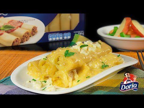 Canelones rellenos de pure de platano en panela y queso campesino. Acompañados con salsa de miel agridulce.