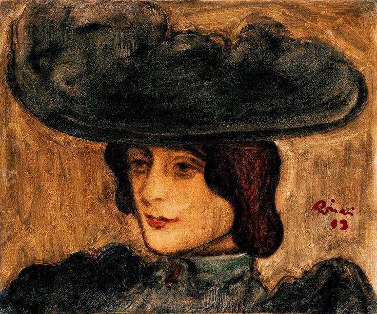 painting by Rippl-Rónai, József - (1861-1927)    Parisian Woman with Hat - Nabis - Oil on canvas - Portrait