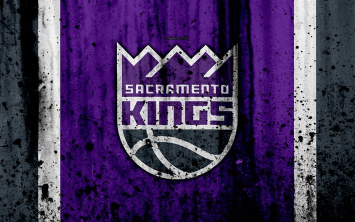 Download wallpapers 4k, Sacramento Kings, grunge, NBA, basketball club, Western Conference, USA, emblem, stone texture, basketball, Pacific Division