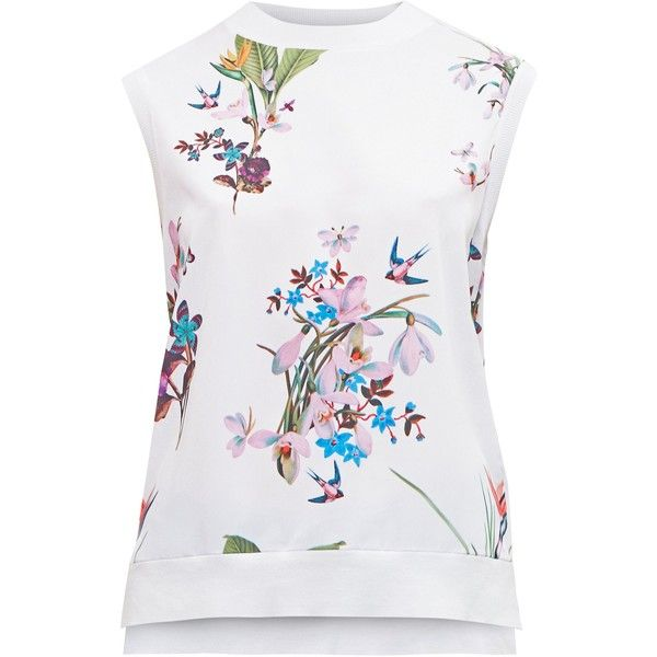 Ted Baker Pueto Tropical Oasis Sleeveless Jumper ($105) ❤ liked on Polyvore featuring tops, sweaters, women knitwear, ted baker sweater, white sleeveless sweater, sleeveless tops, ted baker tops and patterned tops
