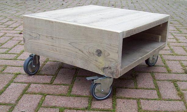 steigerhouten salontafel met wielen - Google zoeken