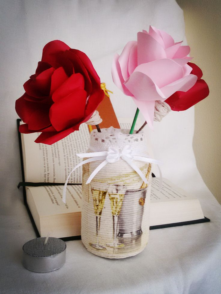 Mason jar covered with rope by Rocreanique