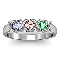 """X's"" and Birthstone Ring... With 4 stones, one for each of us."