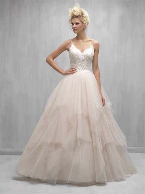 """""""Ballet"""" dress at Jenny's Bridal North Shore. Champagne with Ivory tulle. Also available in Ivory, White colours. www.jennysbridal.co.nz"""