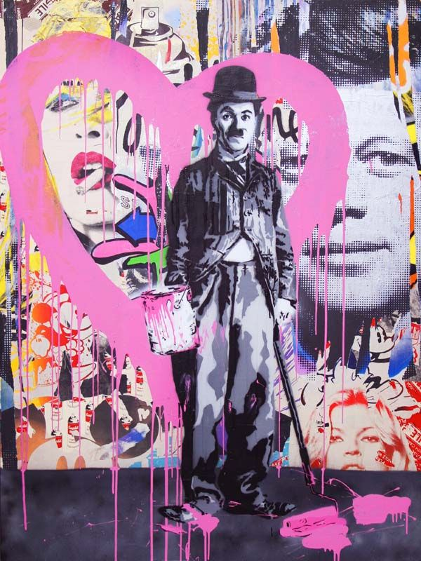 Charlie Chaplan, by Mr. Brainwash. #mrbrainwash