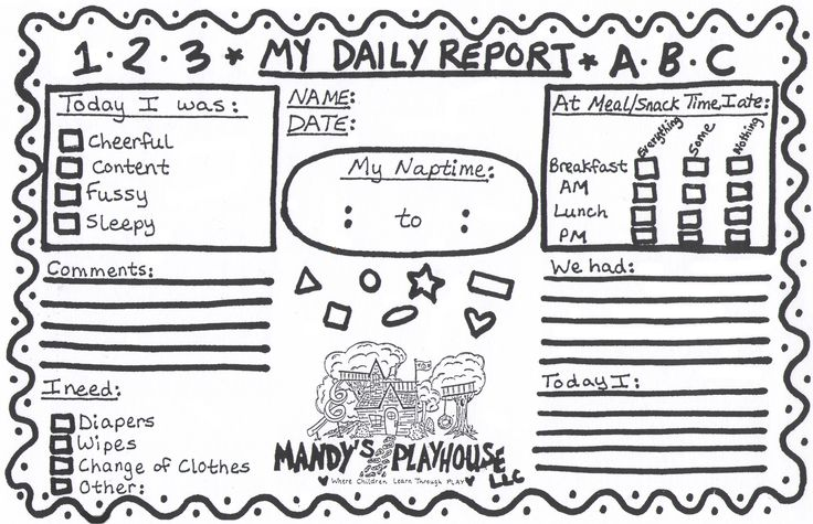 12 best Infant, Toddler & Preschool Daily Report Templates