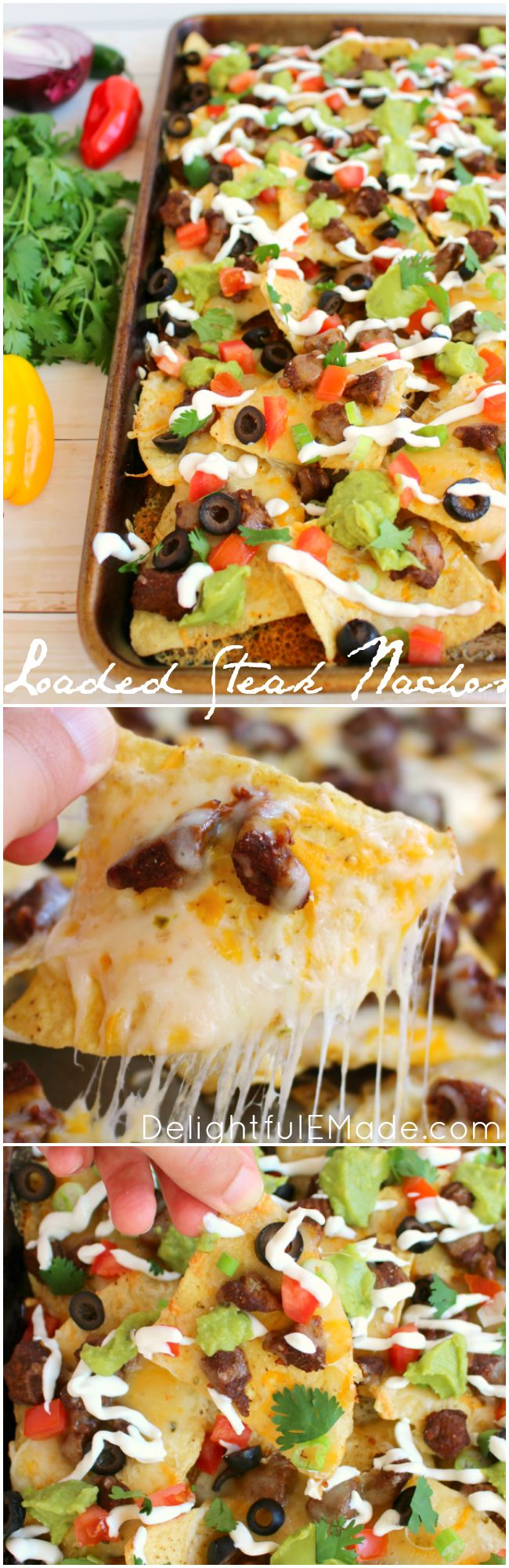 Football food at its finest! These Loaded Steak Nachos have everything you love stacked on top - loads of cheese, seasoned steak, tomatoes, onions, guacamole and more! Eat 'em while their hot and make another batch for the second half! [ad] #NaturallyCheesy