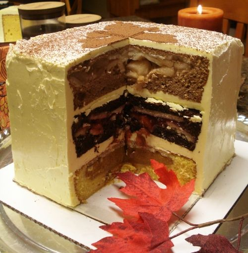 The cherpumple! A 3-layer pie/cake! The turduken of the baking world! I'm going to attempt this for our next office meeting!