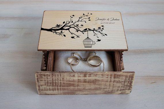 Caja del anillo de boda boda de amor pájaro caja