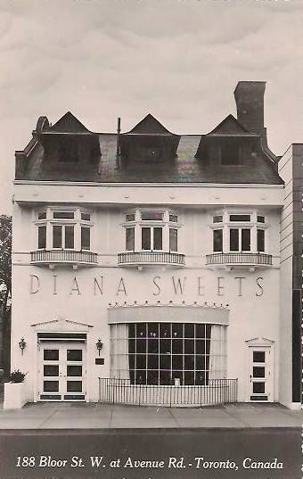 Diana Sweets restaurant when it was at Bloor and Avenue Roads, mid-20th century