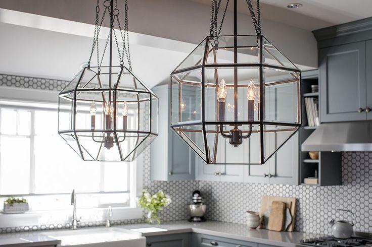 White Kitchen // Blue Kitchen Cabinets // Large Kitchen Table Light Fixtures