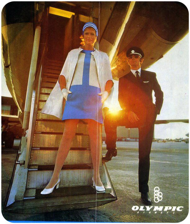 Olympic Airways Cabin Crew Uniform designed by Pierre Cardin ~ 1969-1971