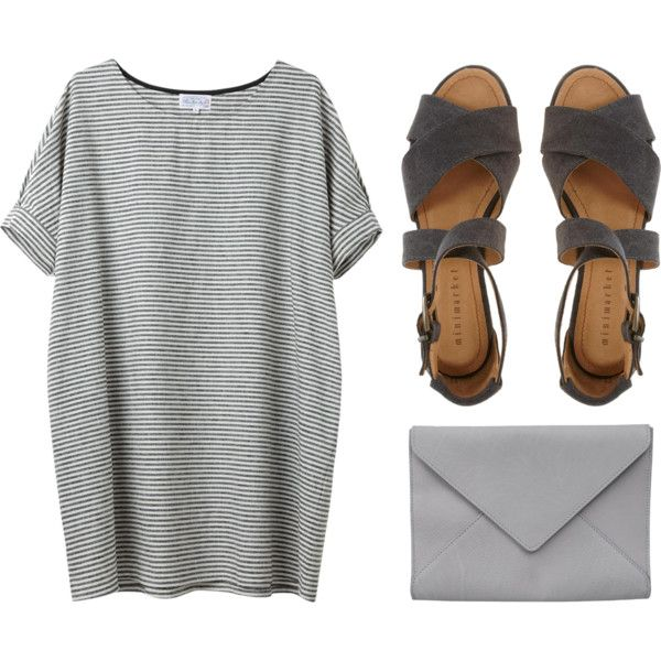Minimal + Classic grey casual sandals envelope clutch t shirt dress