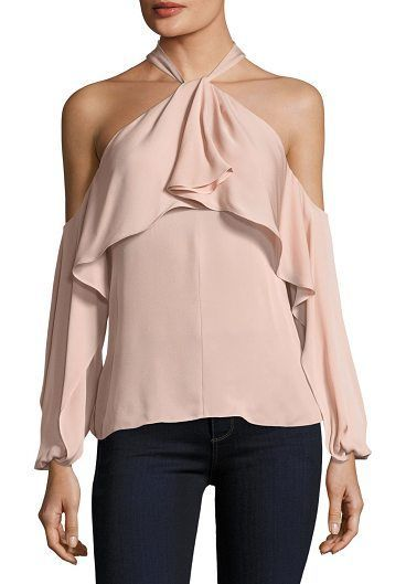 "Adrienne Ruffled Cold-Shoulder Silk Blouse by KOBI HALPERIN. Kobi Halperin ""Adrienne"" silk blouse. Halter neckline with ruffle overlay. Long sleeves; cold-shoulder detail. Relaxe..."